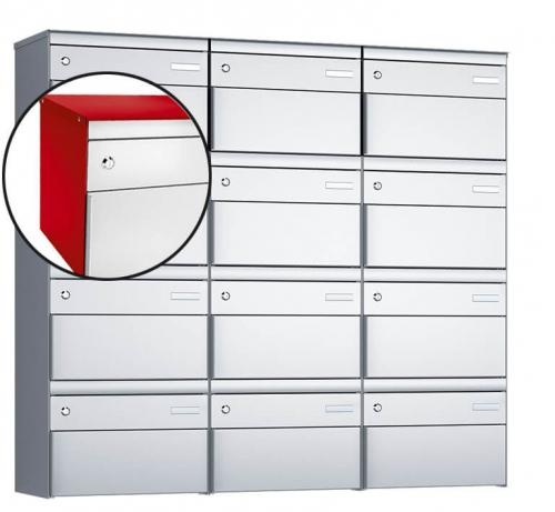 Stebler 12-er Briefkastengruppe, s:box 13, Post-Norm, 3x4, Feuerrot/Weissaluminium