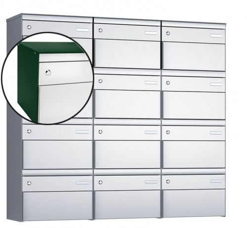 Stebler 12-er Briefkastengruppe, s:box 13, Post-Norm, 3x4, Moosgrün/Weissaluminium