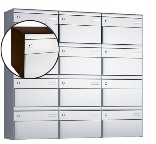 Stebler 12-er Briefkastengruppe, s:box 13, Post-Norm, 3x4, Schokoladenbraun/Weissaluminium