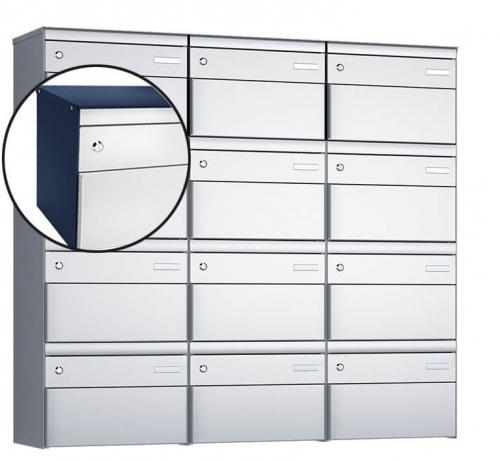 Stebler 12-er Briefkastengruppe, s:box 13, Post-Norm, 3x4, Saphirblau/Weissaluminium