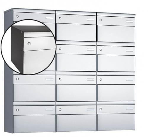 Stebler 12-er Briefkastengruppe, s:box 13, Post-Norm, 3x4, Patina/Weissaluminium