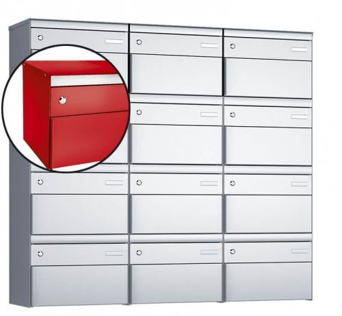 Stebler 12-er Briefkastengruppe, s:box 13, Post-Norm, 3x4, Feuerrot
