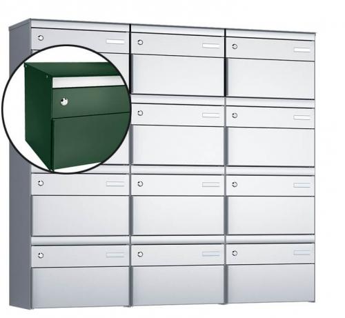 Stebler 12-er Briefkastengruppe, s:box 13, Post-Norm, 3x4, Moosgrün