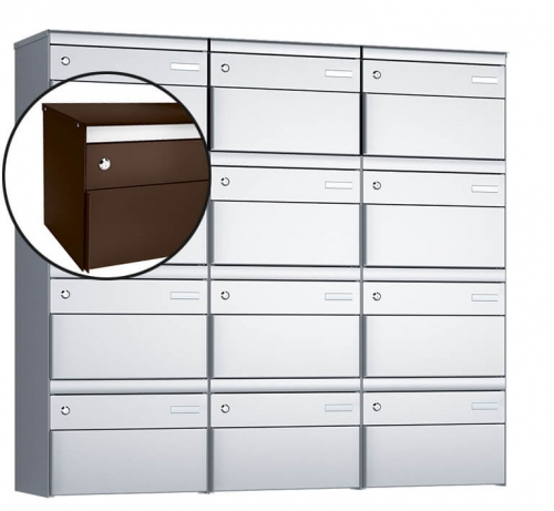 Stebler 12-er Briefkastengruppe, s:box 13, Post-Norm, 3x4, Schokoladenbraun