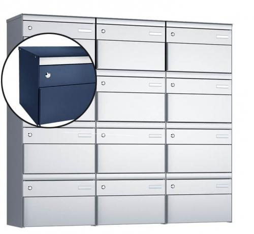 Stebler 12-er Briefkastengruppe, s:box 13, Post-Norm, 3x4, Saphirblau