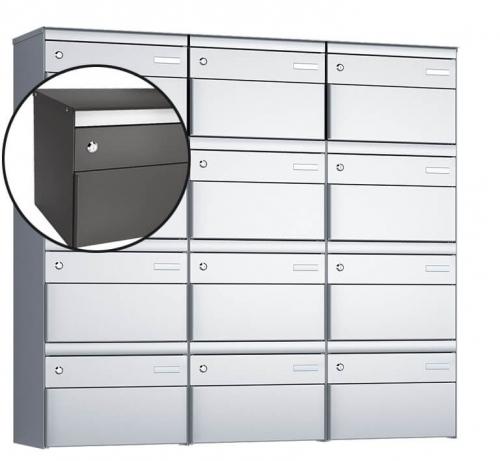 Stebler 12-er Briefkastengruppe, s:box 13, Post-Norm, 3x4, Patina