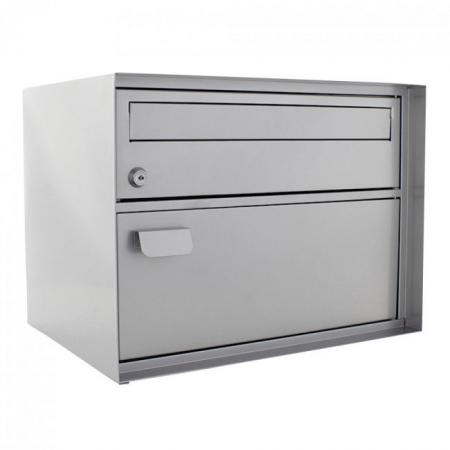 Swiss Mailbox Edelweiss mit Paketfach, silber