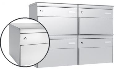 Stebler 4-er Briefkastengruppe 2x2 s:box 13, Post-Norm, Gehäuse und Front RAL 9006 Weissaluminium